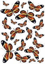 Fietsstickers vlinders zwart-oranje-geel