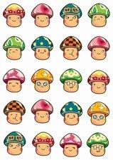 Fietsstickers paddenstoelen gezichtjes