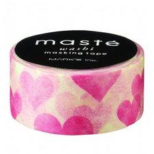 Masking tape Masté hartjes roze/rood