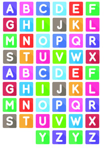 Fietsstickers gekleurde letters blokken