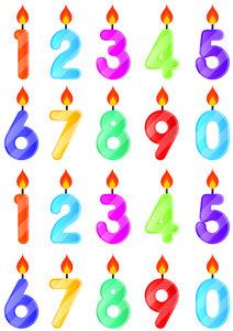 Fietsstickers cijfers met kaarsje